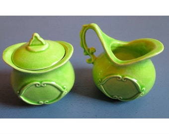 Vintage Miniature Lime Green Ceramic Sugar & Creamer Set