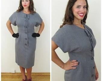 50s Gray Wool Short Sleeve Day Dress, Size Medium