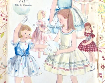 Vintage 1960s Girls Dress Pattern with Overskirt, Vest, and Slip - Vogue 5328