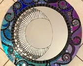 Stained Glass Mosaic Mirror -Celestial Moon Blue Purple Large Round