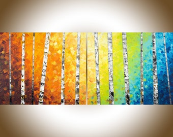 "contemporary wall art 60"" Autumn birch extra large wall art wall decor  rainbow color art canvas painting red yellow orange blue green brown"