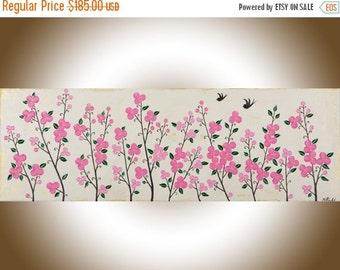 Colourful wall art Original love birds swallow painting green pink flower floral wall art wall decor Impasto acrylic Painting  qiqigallery