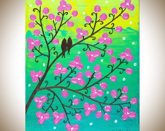"Original painting,yellow green magenta turquoise wall art, love birds canvas art gift for her birthday gift ""Spring Blossoms"" by QIQIGallery"