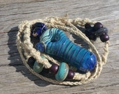 Dope on a Rope Hemp Necklace with Cobalt Blue Glass Tobacco Pipe MT SHASTA GLASS