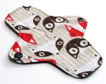 7 inch Reusable Cloth winged ULTRATHIN Pantyliner - Cotton flannel top - Woodland Creatures Cotton Flannel