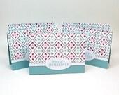 SALE - happy holidays mini cards - aqua red mini cards - christmas mini cards with envelopes - mini card set