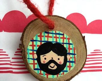 Beard Man Original Painting on Wood Ornament/Hanging