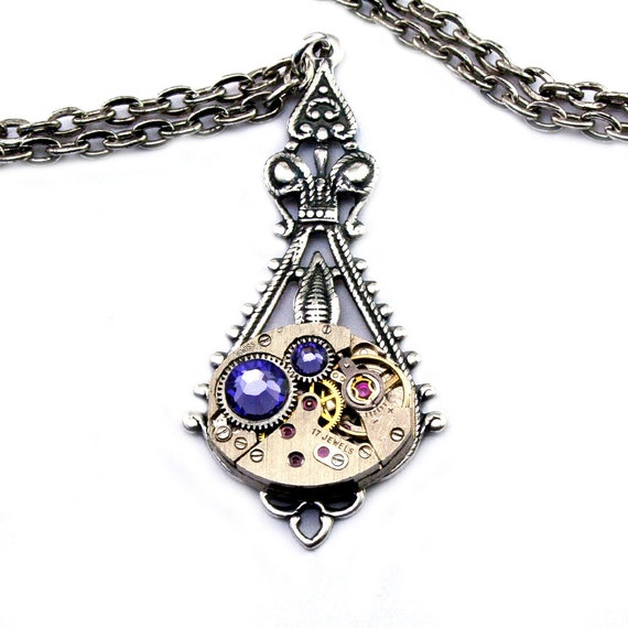 Purple Tanzanite Steampunk Necklace December Birthstone Steampunk Jewelry Swarovski Crystal Victorian Style Necklace London Particulars