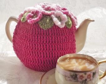 Pretty Pink Posy Tea Cozy, 4 - 6 Cup Crocheted Tea Cozy, Bright Pink Tea Cozy