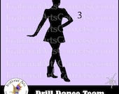 Drill Dance Team Silhouettes Pose 3 - with 1 eps & svg Vinyl Ready files and 1 png digital file and commercial license [INSTANT DOWNLOAD]