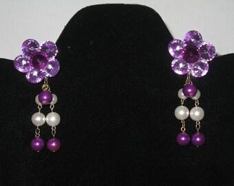 Large Purple Flower Earrings