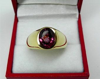 AAAAA Pink Grape Rhodolite Garnet   10x8mm  3.44 Carats   in  Heavy 18K Yellow gold MAN'S ring 20 grams. 2559