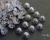 24 pc bead caps / tiny silver plated filigree bead caps / fit 8-10mm beads / lead, nickel free, hypoallergenic