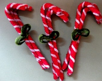 Vintage Style Chenille Stem Candy Canes, Bundle of Three