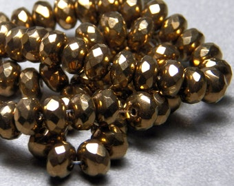 Czech Metallic Bronze 4x6mm Faceted Fire Polished Glass Rondelle Beads (25)
