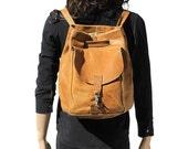 Tan Heavy Leather Bucket Backpack