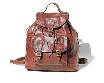 Vintage Italian Brown Leather Backpack