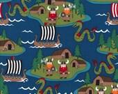 VIKING Teal Blue Cotton Quilt Fabric - by the Yard, Half Yard or Fat Quarter Fq Vikings Pirates boy boys dragons boats Pirate