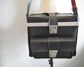 Vintage Large Black Hardsided Camera Bag, Case, Tote, Bag with Removeable Shoulder Strap
