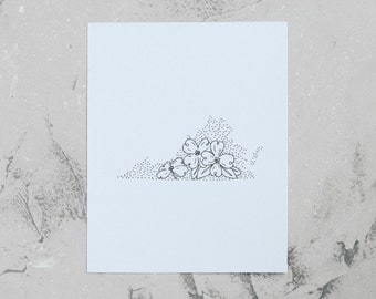 Virginia> Dogwood Blossom> State Flower Drawing> Giclee Print