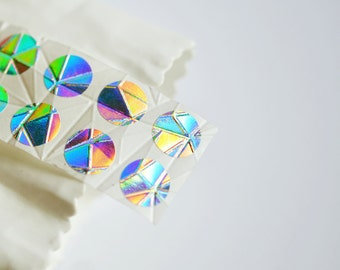 LAST Circle Stickers {100} Small Metallic Holographic Silver Foil Embossed Gem Round Gift Envelope Seals Wedding Engagement Sparkly Wrap