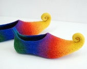 Fairy shoes felted home slippers  from wool rainbow custom colors available Custom made