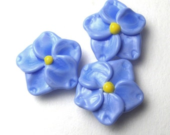 Forget Me Not Beads, Periwinkle Blue Lampwork Glass Flowers, made in Oregon