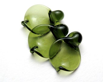 Dancing Leaf Glass Leaves, Artisan Lampwork Beads in transparent green sra, glass leaf, autumn beads, fall beads, green lampwork