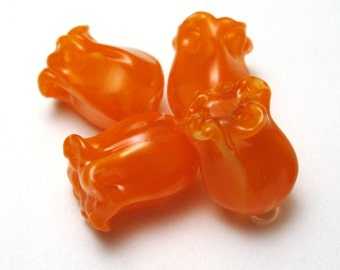 Orange Lampwork Flower Glass Beads, handmade jewelry supplies sra