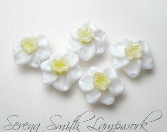 Handmade Lampwork Beads, DAFFODILS Narcissus, Jonquil, artisan glass flower beads