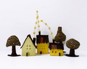 Felt house ornament, Yellow Cabins with trees, Miniature house decoration, original housewarming gift