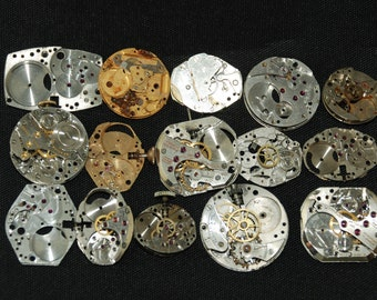 Destash Steampunk Watch Parts Movements Cogs Gears  Assemblage FW 72