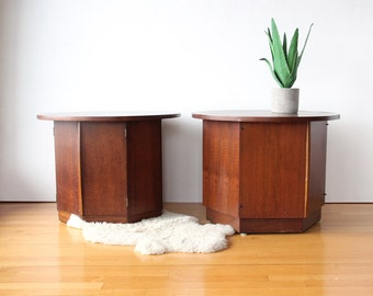 Pair of Round Modern Wooden Lane Side Tables