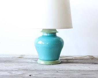 Aqua & Green Ceramic Ginger Jar Table Lamp