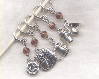 I Love Coffee Knitting Stitch Markers Cuppa Joe Java Mocha Double Theme Set of 5/SM245