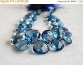 Clearance SALE London Blue Topaz Faceted Heart Briolettes Top Drilled 7.5mm 5 beads