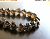 Super SALE Smoky Quartz Briolette Gemstone Faceted Trillion Cut 8mm 1/2 Strand 14 beads