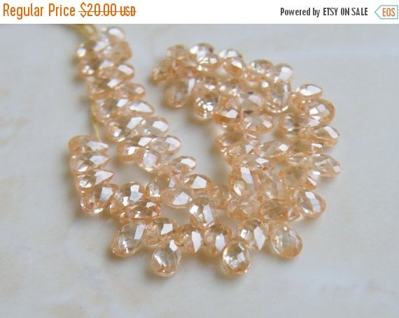 Mega SALE Cubic Zirconia CZ Faceted Pear Briolette Champagne 5mm 30 beads 1/2 Strand