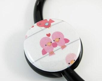 Cute Stethoscope ID Tag Clip Charm -Pink Love Birds