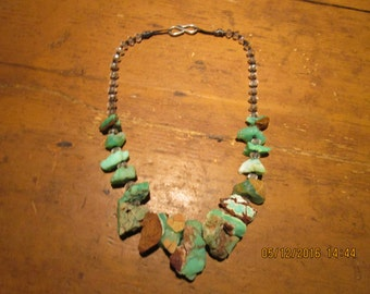 Necklace with Chunky Raw Chrysoprase with Quartz Crystal    free shipping