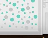 Set of 30 Light Grey / Mint Green Vinyl  Polka Dot Wall Decals Circles Stickers (Peel & Stick Decal Circle Dots)