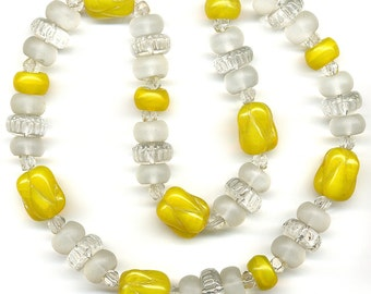 """Vintage Glass Beads Mixed Shapes & Sizes in Yellow, Clear and Matte Finish 15.75"""" Long"""