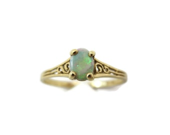 Art Deco Opal Ring - 14k Gold, White Opal Ring, Pinfire, Opal Engagement Ring October Birthstone Jewelry, Estate Jewelry