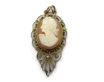 Antique Cameo Pendant - Carved Shell, 800 Silver Filigree, VintageInBloom