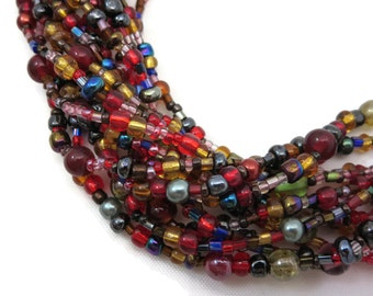 Czech Glass Beaded Necklace - Joan Rivers Jewelry, Multi Strand, Colorful, Costume Jewelry