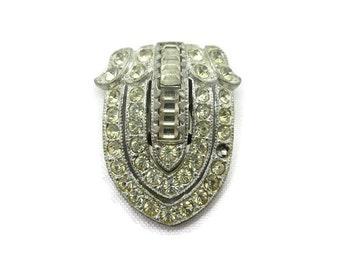 Art Deco Dress Clip - Vintage Rhinestone Costume Jewelry