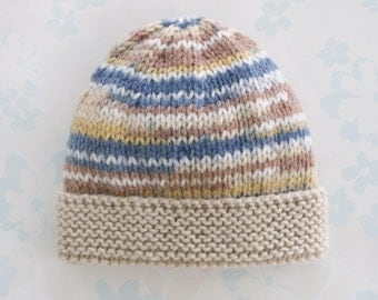 PREEMIE HAT - to fit 2.5 to 5.5 lb baby boy - NICU Kangaroo Care - baby yarn in shades of brown and denim blue with light brown brim
