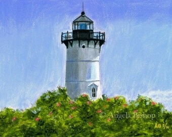 Lighthouse Painting Print, A New England Lighthouse, Pastel Painting Print, Giclee, Landscape, Home Decor, 8 x 10, Realism, Fine Art