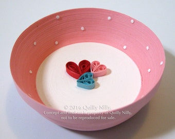 Paper Quilled Ring Dish, Dotted with Hearts READY TO SHIP