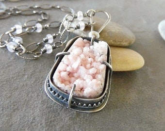 Rustic-Hand Made-OOAK-Necklace- Sterling Silver-Rose Quartz Gemstone- Rhodochnosite Manganese Druzy/Drusy Artisan Jewelry.